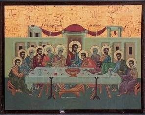 Religious Icon. Wooden Icon. Last Supper Icon Image Size: 6 x 9 cms