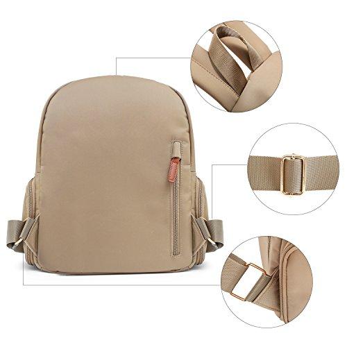 Fashion Khaki Daypack Casual Women Nylon ECOSUSI Backpack for xCwqS0nIg