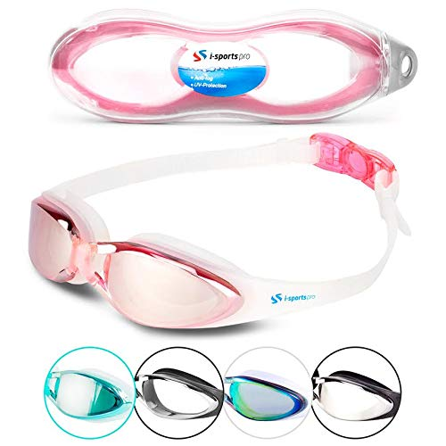 i-Sports Pro i Swim Pro Swimming Goggles - Adult and Kids Sizes - No Leaking, Anti-Fog, UV Protection, Crystal Clear Vision with Protective Case - Comfortable Fit Men, Women, Youth