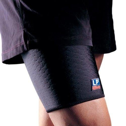 LP Extreme Coolprene Thigh Support - ideal for recovering pulled muscles (Unisex; Black), X-Large