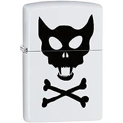 Zippo Lighter: Cat Skull and Bones - White Matte 77901