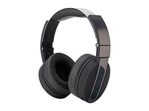 Monoprice Bluetooth Wireless Over Ear Headphones - Rechargeable - Black Brushed Metal with Built in mic and up to 15 Hours of Audio Playback for Apple iPhone iPod Android Smartphone Samsung Galaxy