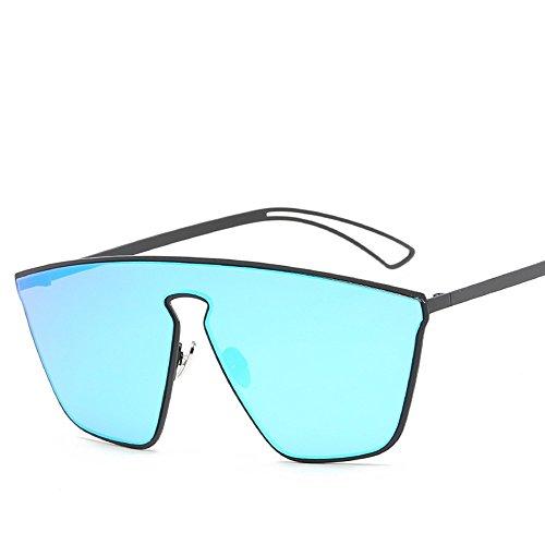 Sol De Gafas Acero De De Gafas Inoxidable De Box Hombre Moda Doble Color Black Matte WHLDK Ice Sol De Sol Frío Blue Gafas Tdq0xqt