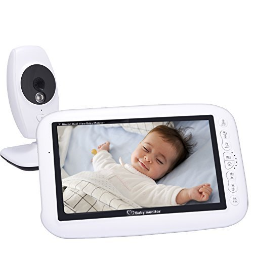Wireless Video Newborn Baby Monitor Speakers System with 7.0 Large LCD Screen Night Vision Camera, Video Recording& Two Way Audio System Including Baby Monitor Mount Corner Stand Shelf CityMama