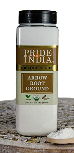 Pride Of India- Organic Arrowroot Ground Powder- 20 oz (566 gm) Large Dual Sifter Jar - Authentic Indian Vegan Flour - Best Added in Cakes, Jellies, Pies & Sauces etc - Offers Best Value for Money ()