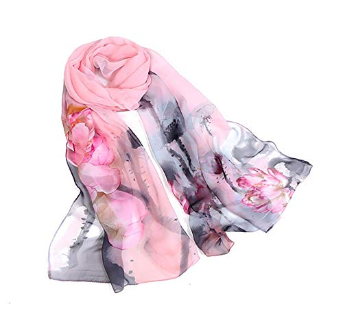 Print Silk Feeling Scarf Fashion Scarves Lightweight Sunscreen Shawls for Women (Ink Lotus&Pink)
