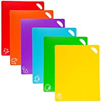 ValueHall 6 Pcs Flexible Plastic Cutting Board Mats Chopping Board Non Slip Easy Hanging Boards with Food Icons Perfect...