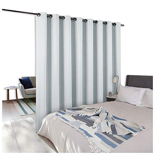 NICETOWN Room Divider Curtain Screen Partitions, Extra Wide Room Partitions and Dividers, Use of Inexpensive Microfiber Thermal Coating Fabric (Single Piece, 15ft Wide x 8ft Long,Greyish White)