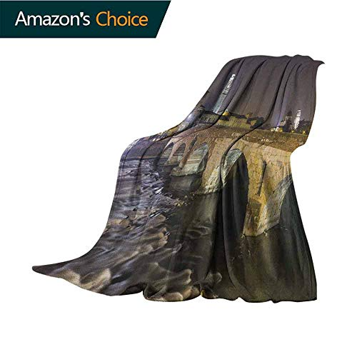 Landscape Blanket Basket,Ponte Pietra on River Adige Ancient Roman Bridge in The Old Town of Verona Italy Microfiber All Season Blanket for Bed or Couch Multicolor,35