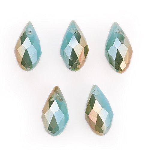 (15Pcs Charms DIY Jewelry Makings Teardrop Pendant Spacer Loose Pendant Beads 6x12mm (Lake Blue Jade Half Wine Red))