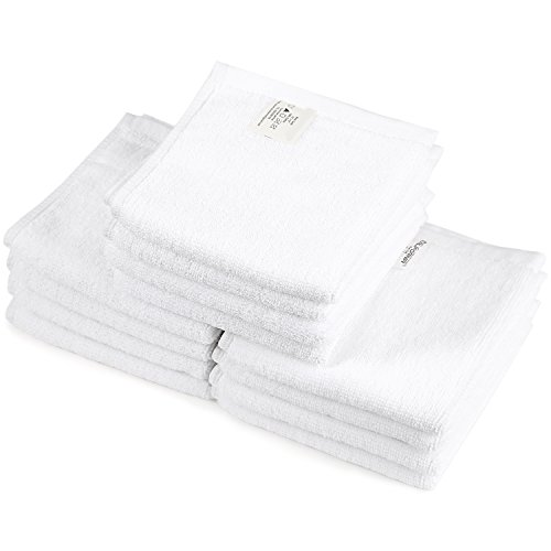 ONEDONE Waschhandtuch Waschlappen Gästetuch Handtuch Duschtuch Badetuch Saunatuch 100% Baumwolle Tücher Reinigungstücher Reinigungstuch Gesicht Tuch für Küche und Reinigung 12 Stücke Weiß (12''*12'', Weiß)