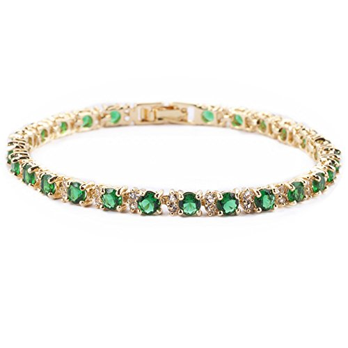 RIZILIA Eternity Tennis Bracelet & Round Cut CZ [Simulated Green Emerald] in Yellow Gold Plated, - Gold Bracelet Emerald Yellow