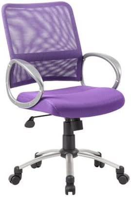 Amazon Com Boss Office Products Mesh Back Task Chair With Pewter Finish In Purple Furniture Decor