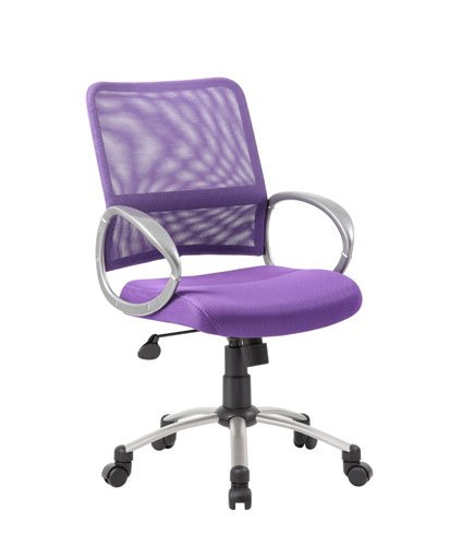- Boss Office Products B6416-PR Mesh Back Task Chair with Pewter Finish in Purple