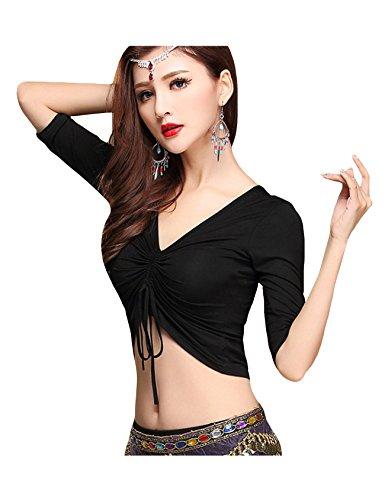 (Bestgift Women's Modal Half Sleeve V-Neck Drawstring Belly Dance Top Black M )
