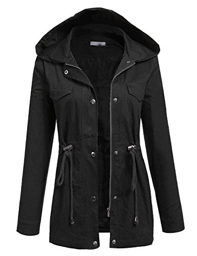 ACEVOG Women's Versatile Military Anorak Parka Drawstring Waist Safari Jackets With Hoodie,Black,M (Safari Jacket Dress)