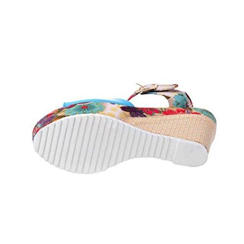 da Scarpe Sandali Zeppa Estate Sandalo Estivi Alto Tacco Elegante Peep BeautyTop Donna con Caviglia Aperte Blu Sandali Ragazze da con vgEBwqq