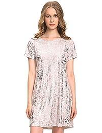 Women's Plus Size Glitzy Causal Tunic Dress Comfy T-Shirt Dress Outfits