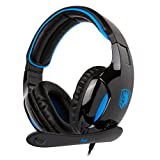 2017 Sades New Version SA902 Blue 7.1 Channel Virtual USB Surround Stereo Wired PC Gaming Headset Over Ear Headphones with Microphone For PC/Mac/Computer/Laptop (Black/Blue)