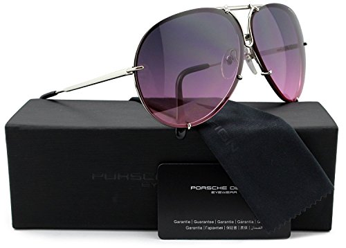 Porsche Design P8478 M Aviator Sunglasses Silver w/Pink Gradient &