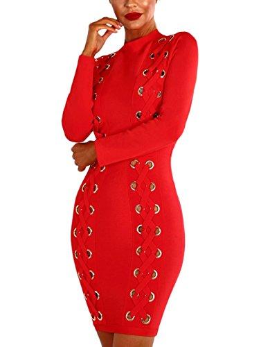 Mujer Vestidos De Fiesta Cortos Elegantes Moda Con Ojales Bandage Bodycon Vestido De Noche Slim Fit De Tubo Manga Larga Color Sólido Otoño Invierno De Coctel dress Rojo