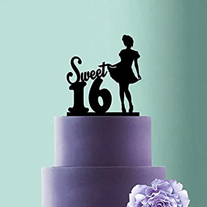 Amazon Sweet 16 Birthday Cake Topper Girl Silhouette