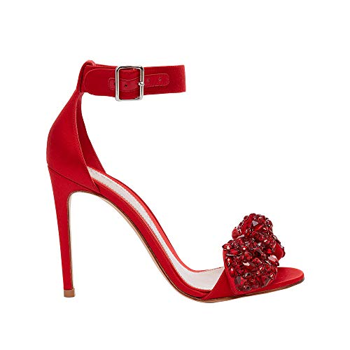 Alexander McQueen Womens Bow Embroidered Sandal Red