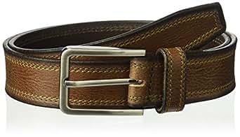 Van Heusen Men's Stitched Cut Edge Belt, Brown, 32