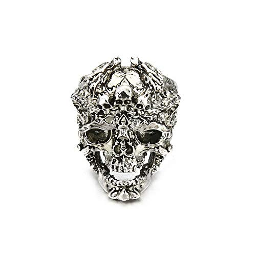 Monowi Gothic Mens Stainless Steel Silver Fashion Cool Punk Skull Finger Rings Jewelry | Model RNG - 6150 | 10