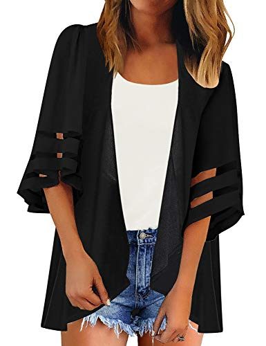 - Luyeess Women's Open Front Drape Draped Boho Mesh Panel Chiffon 3/4 Bell Sleeve Casual Loose Summer Lightweight Kimono Cardigan Beach Cover Up Top Solid Black, Size XL(16-18)
