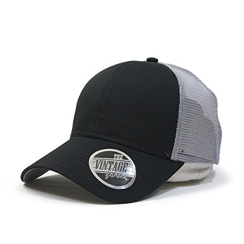 Vintage Year Washed Cotton Twill Mesh Adjustable Snapback Trucker Baseball Cap (Black, Navy, Khaki,White) (Black/Gray)