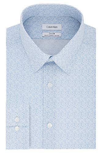 Calvin Klein Men's Dress Shirt Slim Fit Non Iron Stretch Print, Cornflower Blue, 16.5