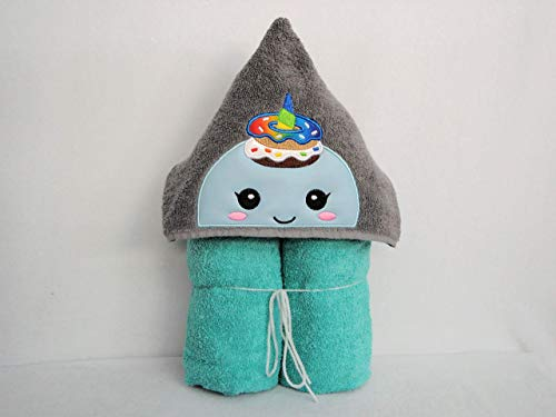Fun Donut Print Border on Full Sized Teal Bath Towel Donut Hooded Towel for Kids Quirky Gift for Girl Ready to Ship Birthday Gift