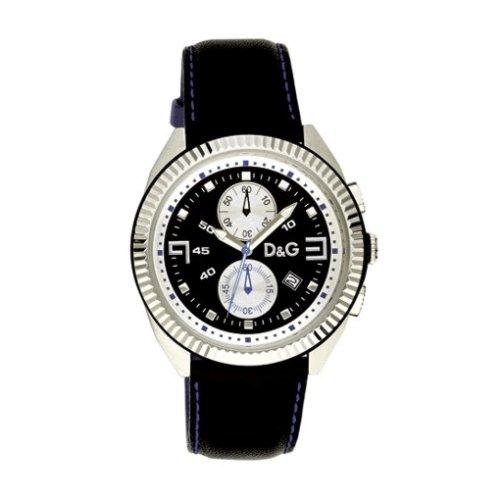 D&G Dolce&Gabbana DW 0034 - Reloj cronógrafo de caballero de cuarzo con correa de piel negra