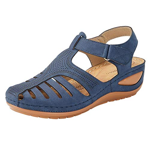 (JJLIKER Women's Closed Toe Cutout Sandals Flats Soft Comfort Casual Low Wedge Shoes Walking Driving Fashion Wild Outdoor)