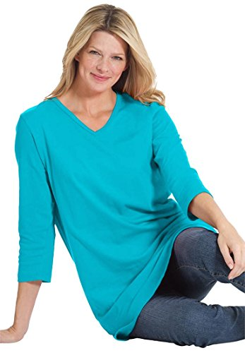 Womens Plus Size Top  The Perfect Tunic With 3 4 Sleeves Light Sapphire 2X