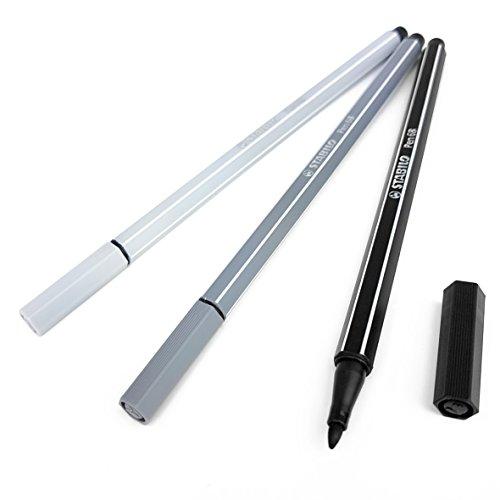 (STABILO PEN 68 Fibre Tip Pens – Assorted Set of 3 Colours – Monochrome Tones)