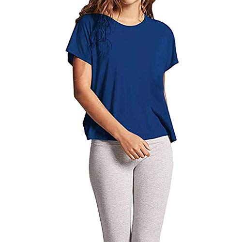 (GONKOMA Women's T-Shirt Backless Short Sleeve Crop Tank Tops Blouse Open Back Knot Casual Shirt Pullover Tees Blue)