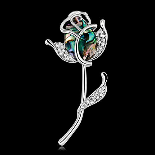 Mrsrui Fashion Rose Flower Brooch Shell Stone Brooches Pin