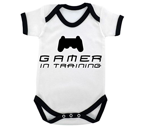 Price comparison product image Funny Gamer in Training Baby Bodysuit with Black Trim and Black Print