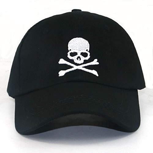 頭骨 刺繍 野球帽 調整可能な 綿 ゴルフ カジュアルキャップ アウトドアス ポーツ帽子,ブラック