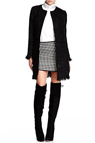 VERTIGO PARIS Women's Tweed Fringe Boucle Wool Blend Coat - Black - (Wool Tweed Coat)