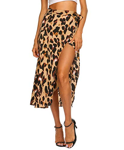 Leopard Skirts for Women Long Tie Up Bowtie Summer Flowy Wrap Midi Skirt (M,Leopard Yellow)
