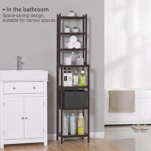 SONGMICS 7-Tier Bamboo Bathroom Shelf, 2-in-1 Design Adjustable Storage Rack, Free Standing Multifunctional Organizer, Shelving Unit for Washroom, Living Room, Kitchen, Brown UBCR01BR, 1603628 cm, by SONGMICS (Image #2)