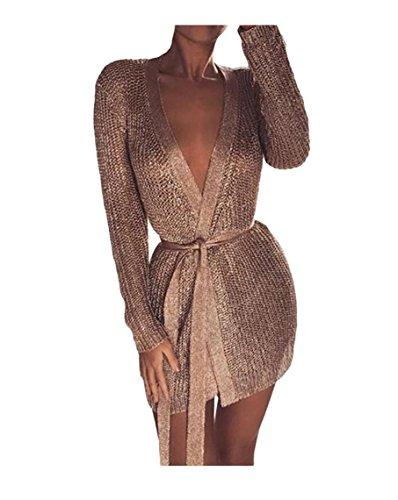 Tricot Veste Cardigans Mode Hauts Manche Or Sentao Vintage Femmes Chandail Manteau Longue nxZnpYHw