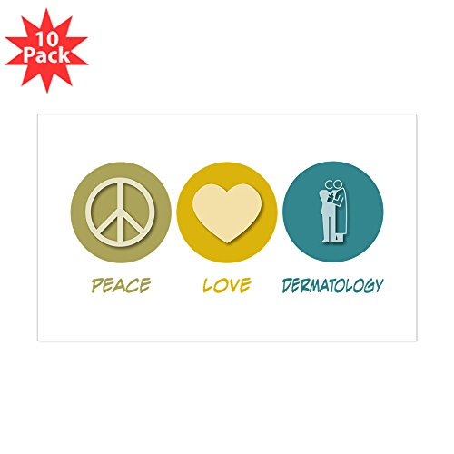 CafePress - Peace Love Dermatology Rectangle Sticker 10 Pk) - Rectangle Bumper Sticker (10-pack), Car Decal