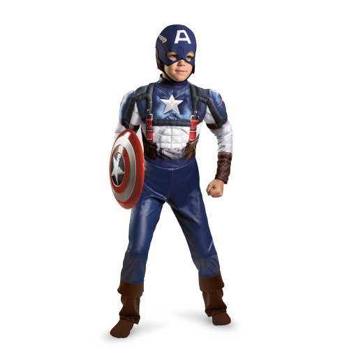 [Disguise Marvel Captain America The Winter Soldier Movie 2 Captain America Retro Classic Muscle Boys Costume, Medium (7-8)] (Captain America Classic Costumes)