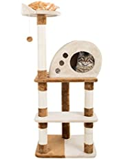 "4 Tier Cat Tree- Plush Multi-Level Cat Tower with Sisal Scratching Posts, Perch, Cat Condo and Hanging Toy for Cats and Kittens by PETMAKER (47.5"")"