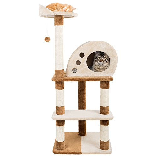 4 Tier Cat Tree- Plush Multi-Level Cat Tower with Sisal Scratching Posts, Perch, Cat Condo and Hanging Toy for Cats and Kittens By PETMAKER (47.5