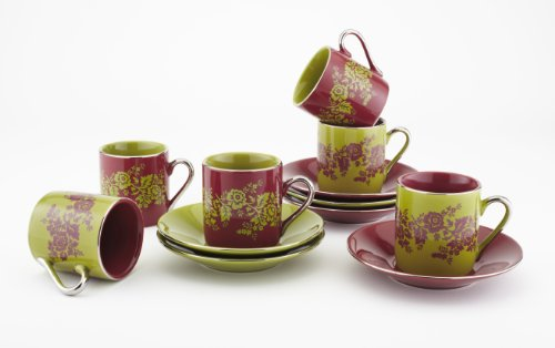 Espresso Cups Set Of 6 – by Yedi Houseware |Floral Demitasse Cup and Saucer Set Made of Porcelain| 2.5 Oz Burgundy Red and Pear Green Coffee Cups with Elegant Silver Plated Handles and Edges Burgundy Silver Plated